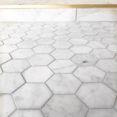 More hex love featuring this Carrara marble hexagon tile in our #whitewingwaterman master shower & the gold trim detail makes it a million times better Photo Builder: @aft_construction - Architecture and Home Decor - Bedroom - Bathroom - Kitchen And Living Room Interior Design Decorating Ideas - #architecture #design #interiordesign #homedesign #architect #architectural #homedecor #realestate #contemporaryart #inspiration #creative #decor #decoration