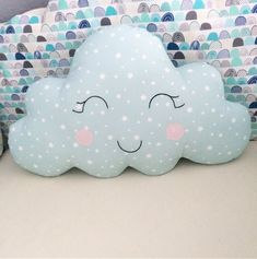 The price is the size and color. Material: cotton fabric Washable stuffing material at 30 Baby Boy Crib Bedding, Baby Boy Cribs, Cot Bedding, Baby Pillows, Cloud Cushion, Cloud Pillow, Baby Diy Projects, Sewing Projects, Diy Pillow Covers