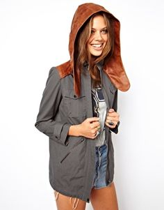 Wish this was still in stock in my size! Adorable! ASOS Premium Parka With Leather Hood