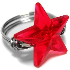 Red Nautical Star Ring. Beaded Wire Wrapped Ring. Silver Cocktail Ring ($6) ❤ liked on Polyvore featuring jewelry, rings, stars, accessories, red, nautical rings, beaded rings, red ring, silver cocktail ring and silver star ring