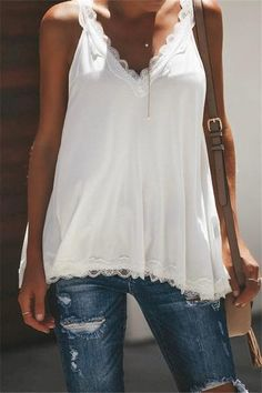 Casual Sexy Lace Splicing V Neck Pure Color Vest Blouse – tank tops workout,tank tops cute,tank top slace,tank tops juniors,tank tops for work Cami Tops, Vest Tops, Women's Tops, Lace Camisole, Mode Inspiration, Mode Style, Look Fashion, Fast Fashion, Fashion Clothes