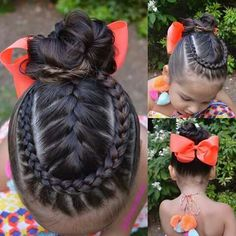 Entering contest with this lovely style of French braid framed by Dutch lace braid into a messy bun. Gorgeous oversized bow by Happy Labor Day to those who celebrate❤️ Lil Girl Hairstyles, Braided Hairstyles, Natural Hairstyles, Natural Hair Styles For Black Women, Short Hair Styles, Sweethearts Hair Design, Little Girl Braids, Toddler Hair, Lace Braid