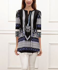Look at this Blue & Black Geometric Notch Neck Tunic on #zulily today!