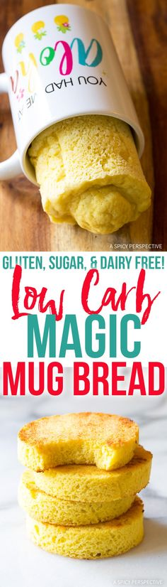 Low Carb Magic Mug Bread Recipe - Paleo, Ketogenic, Grain Free, Gluten Free, Sugar Free, Dairy Free!