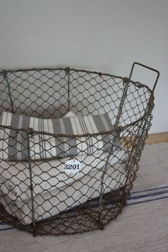 Love this Metal basket with enamel numbers