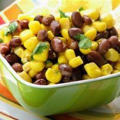 Corn and Black Bean Salad Recipe Appetizers, Side Dishes, Salads with balsamic vinegar, vegetable oil, salt, white sugar, ground black pepper, ground cumin, chili powder, chopped cilantro fresh, black beans, sweet corn