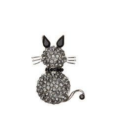 Another great find on #zulily! Black Silvertone Rhinestone Cat Brooch #zulilyfinds