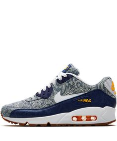 Dark blue Crown Liberty Print Air Max 90 Trainers  from the Nike x Liberty collection.  Shop the full collection here: http://www.liberty.co.uk/fcp/categorylist/designer/nike