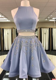 Unique Two Piece Short Beads Homecoming Dresses Party Dress 2 Piece Homecoming  Dresses 02f5c5d69433