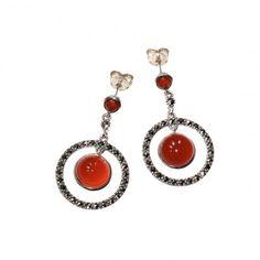 Arya Italian Jewels - Orecchini Argento Donna con Corniola - Women SIlver Earrings with Carnelian