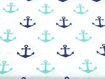 Baumwolle Anker marine/navy/grün maritim