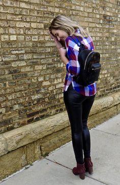 Mad for Plaid Plaid boyfriend shirt + leather leggings