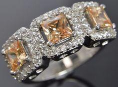 Joseph Esposito Sterling Silver Peach & White Cubic Zirconia Three Stone Ring 7 #JosephEsposito #ThreeStone