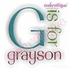 Grayson MonogramSet - 5 Sizes! | Alphabets | Machine Embroidery Designs | SWAKembroidery.com Embroitique
