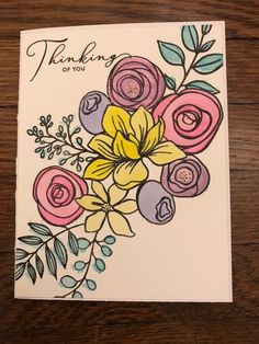 Arteza Watercolors - SSSCK October 2018 - Simon Says Stamp Sketched Flowers Handmade Birthday Cards, Greeting Cards Handmade, Birthday Card Drawing, Free Hand Drawing, Paint Cards, Stencil Designs, Watercolor Cards, Creative Cards, Cool Cards