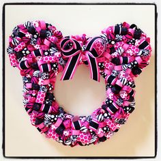 The Minnie Mouse ribbon wreath - great for Breast Cancer Awareness Month, but really, fabulous for any Disney fan's front door.