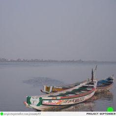 Senegal beach fishing boats