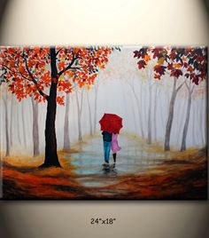 original pintura abstracta, caminar en la lluvia, paraguas rojo, oro brumoso otoño, amor pareja, 24 x 18 pulgadas, sobre lienzo estirado, gran regalo