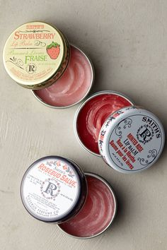 Smith's Rosebud Salve is a beauty classic - everyone's favorite lip balm, cuticle smoother, flyaway tamer and irritation soother. This gift set includes a pocket-sized tin of each time-tested signature scent. Smiths Rosebud Salve, Strawberry Lip Balm, Little Presents, Sugar Scrub Diy, Tin Gifts, Lip Care, Skin Makeup, Rose Buds, Beauty Care