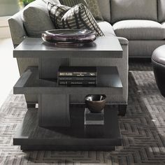 The stunning and straightforward design of the Lexington Home Brands Carrera Ellena Square End Table should be the star, but you'll love the. Living Room Plan, Living Room Remodel, Living Room Designs, End Tables With Storage, Small Tables, Side Tables, Hardwood Charcoal, Charcoal Gray, Floor Shelf