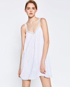 Image 2 of EMBROIDERED STRAPPY DRESS from Zara