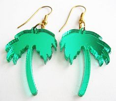 Vintage Green Mirrored Tropical Island Palm Tree Earrings awesome