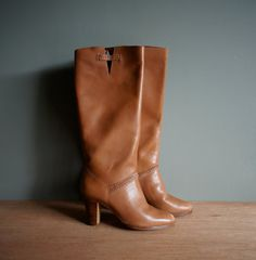 Vintage BRAZILIAN LEATHER Honey Tan Boho Thigh Boots US 7 by heightofvintage, $62.00