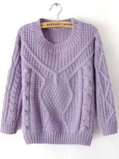 Purple Long Sleeve Twisted Ball Knit Sweater EUR€22.89