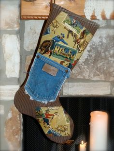 western/cowboy christmas stocking | Playboy The Cowboy Christmas Stocking by ShabbyRanch on Etsy