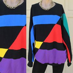Retro 1980s Vintage Color Block Pullover Hoodie. For Sale Here…