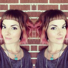 Pink ombré. Short bangs. Textured bob.
