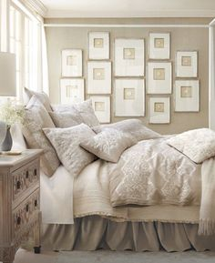 Interior Design Layer bedding and simple frames, not much of an investment for a beautiful result. Beige and White Neutral Bedroom Decor Dream Bedroom, Home Bedroom, Bedroom Ideas, Bedroom Designs, Bedroom Inspo, Cottage Bedrooms, White Bedrooms, Small Bedrooms, Master Bedrooms