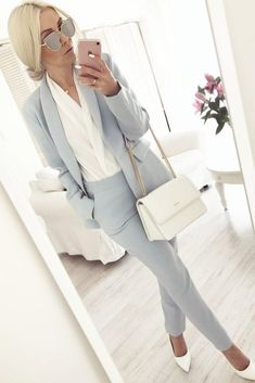 57 Stylish Spring Work Outfits To A Career-Girl Look - Work Outfits Women Stylish Work Outfits, Spring Work Outfits, Business Casual Outfits, Professional Outfits, Work Casual, Business Fashion, Work Outfits Office, Office Attire, Stylish Clothes