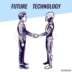 Artificial intelligence concept. Human and robot handshaking. Futuristic ai advanced technology vector background. Robot and human handshake cooperation, characters handshaking illustration