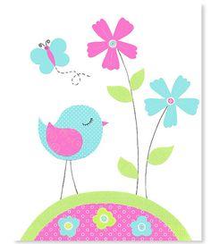 Aqua Green Fuchsia Bird Nursery Decor Girl's Room Wall Art Baby Decor Bedroom Pink Citron 8 x 10 or 11 x 14 print