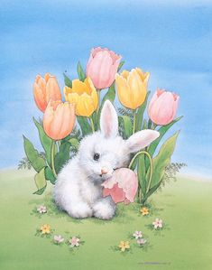 Spring bunny and flowers Easter Art, Easter Crafts, Easter Bunny, Cute Drawings, Animal Drawings, Animal Original, Lapin Art, Easter Pictures, Rabbit Art
