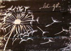 Let Go Distressed Pallet Sign Hand Painted Inspirational Home decor Black and…