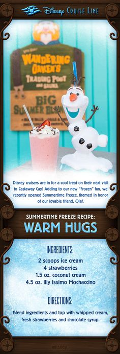 "Disney cruisers are in for a cool treat on their next visit to Castaway Cay! Adding to our new ""Frozen"" fun, we recently opened Summertime Freeze! Check out this cool treat inspired by the new location!"