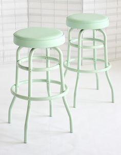 Mint Barstools Retro Repainted Mint Furniture