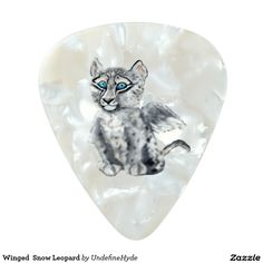 Winged  Snow Leopard Pearl Celluloid Guitar Pick