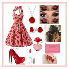 """""""#Strawberry #Look"""" by vehapi-miralema ❤ liked on Polyvore featuring Schutz, Chanel, Bling Jewelry, Marc Jacobs and BeYu"""