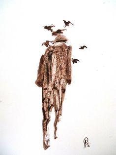 ¨Quijote caminante y cuervos¨ De la serie Quijotes de Ricardo Perez Alcala oleo s. papel