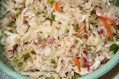 Forever Slaw ----from Deep South Dish---a basic coleslaw, dressed with a sweetened vinaigrette, called Forever Slaw because of it's long refrigerated shelf life. Coleslaw With Vinegar Dressing, Oil And Vinegar Coleslaw, Coleslaw Salad, Deep South Dish, Cooking Recipes, Healthy Recipes, Atkins Recipes, Delicious Recipes, Recipes
