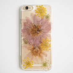 The Original Purple pressed flowers bumper phone case via SummerSummerHandcraft