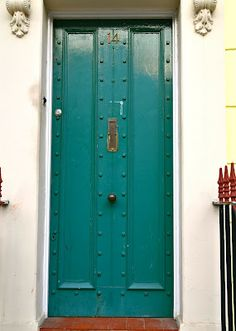 studded painted front door