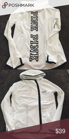 Victoria secret Pink white jacket New! New, side zip, with thumb holes! PINK Victoria's Secret Jackets & Coats