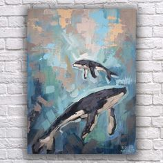 Cute whales painting. Original art on small canvas, great kids wall art.