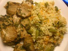 lombiho de atum + arroz com legumes