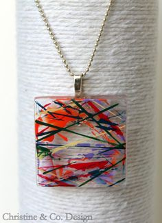 Abstract with Primary Colors Square Glass Pendant/ or Handbag Charm by ChristineandCodesign, $28.00