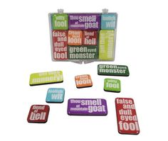 INSULTS MINI MAGNETS £6.00 'Though smell of mountain goat' A set of 8 mini magnets of Shakespeare's most famous insults.